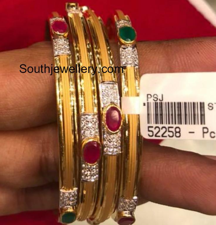22 Carat Gold Bangles Models Jewellery Designs