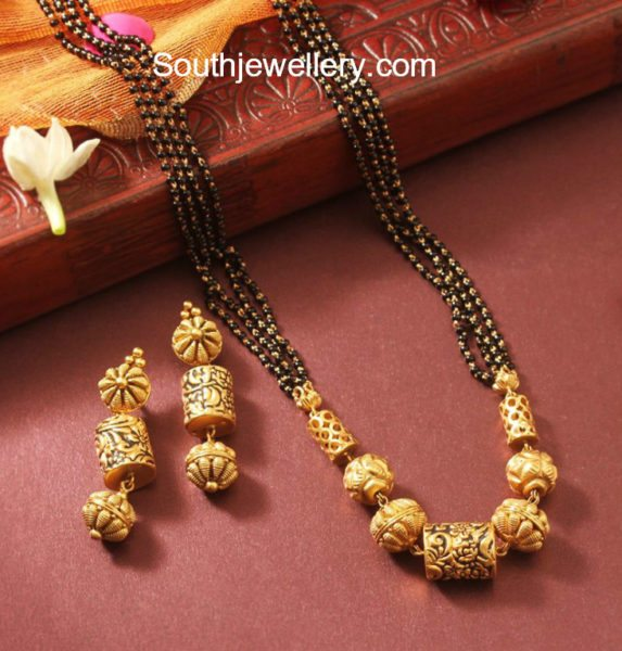 Simple Mangalsutra Chain and Earrings Set