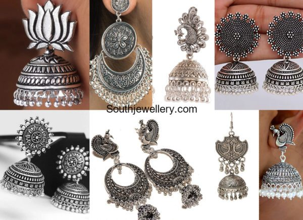 Oxidized Silver Jhumkis and Chandbalis