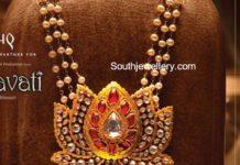 pearls mala with lotus pendant