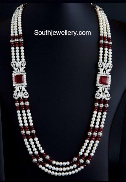 Beads Mala with Diamond Side Pendants