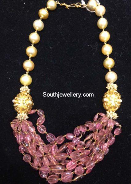 Pink Tourmalines and South Sea Pearls Mala