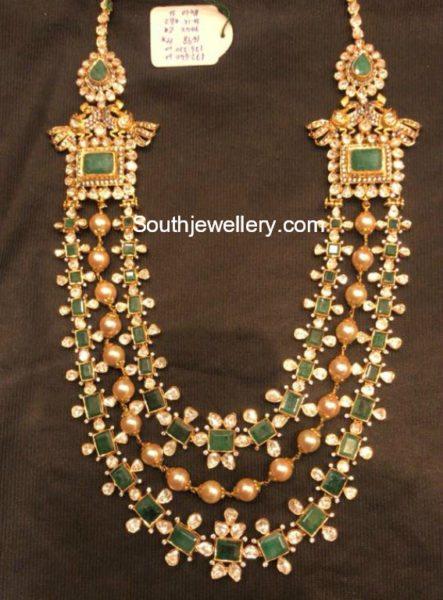 Uncut Diamond and Emeralds Layered Mala