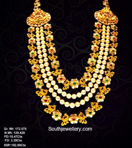 Uncut Diamond and South Sea Pearls Layered Mala