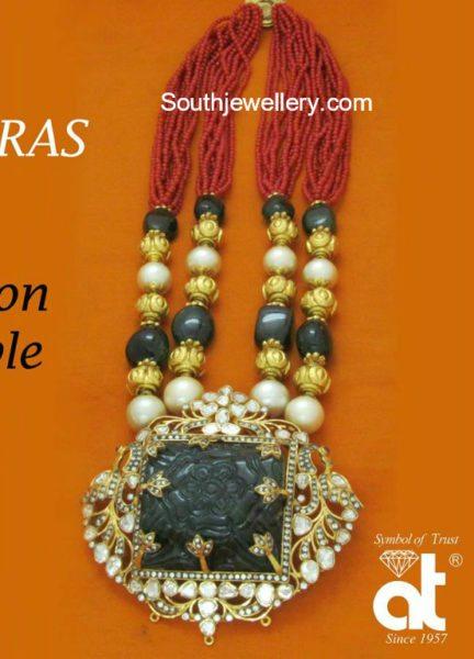 Beads Mala with Emerald Pendant