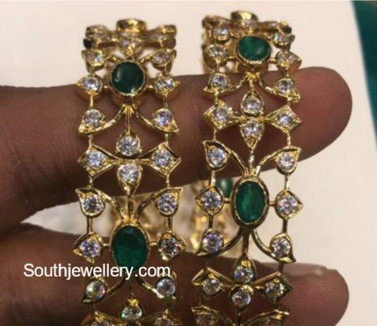 sterling with j victorian jewelry silver rhodium black gems in cut bangles plating gold rose sar emerald and diamond bangle