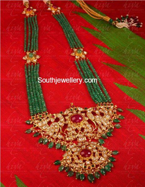 Emerald Haram with Peacock Kundan Pendant