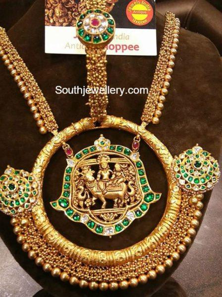 Antique Gold Haram, Bangle and Earrings Set