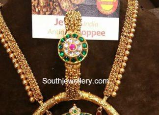 gold haram shiva parvathy pendant