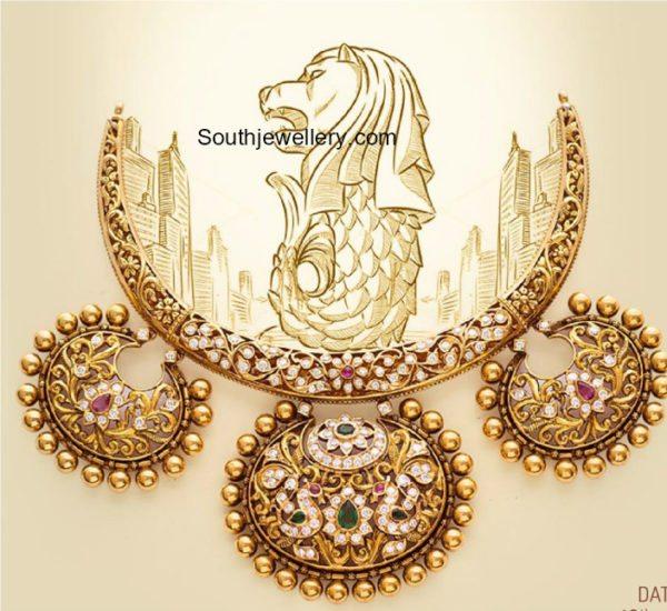nakshi necklace with diamonds