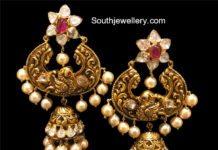 Antique Pachi Chandbali Jhumka Earrings