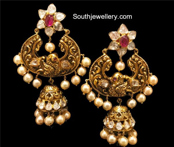 Antique Pachi Chandbali Jhumka Earrings
