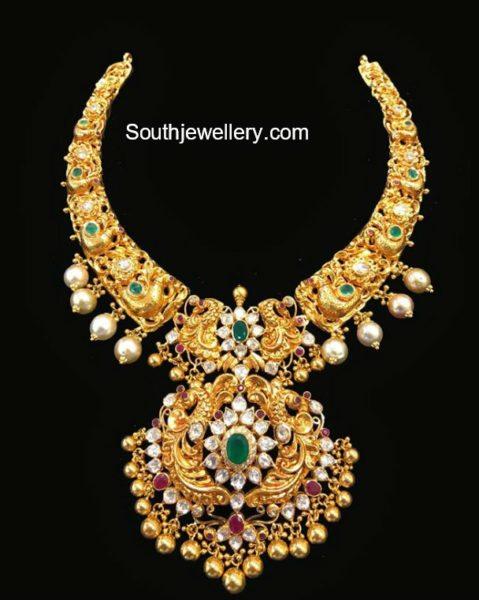 Peacock Nakshi Necklace with Detachable Pendant