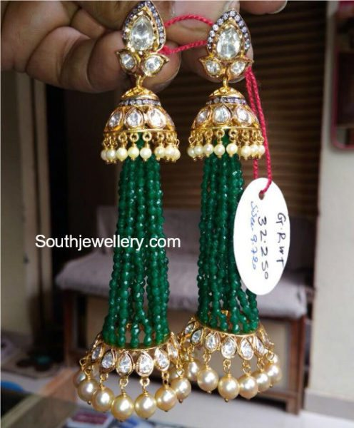 emerald polki tassel earrings
