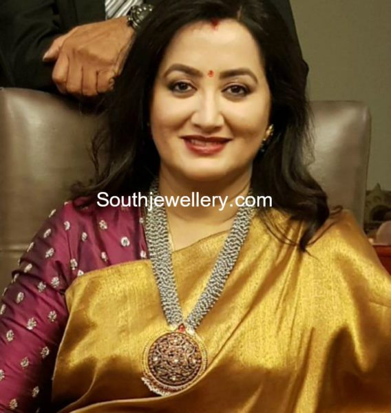 Sumalatha in a pearls mala