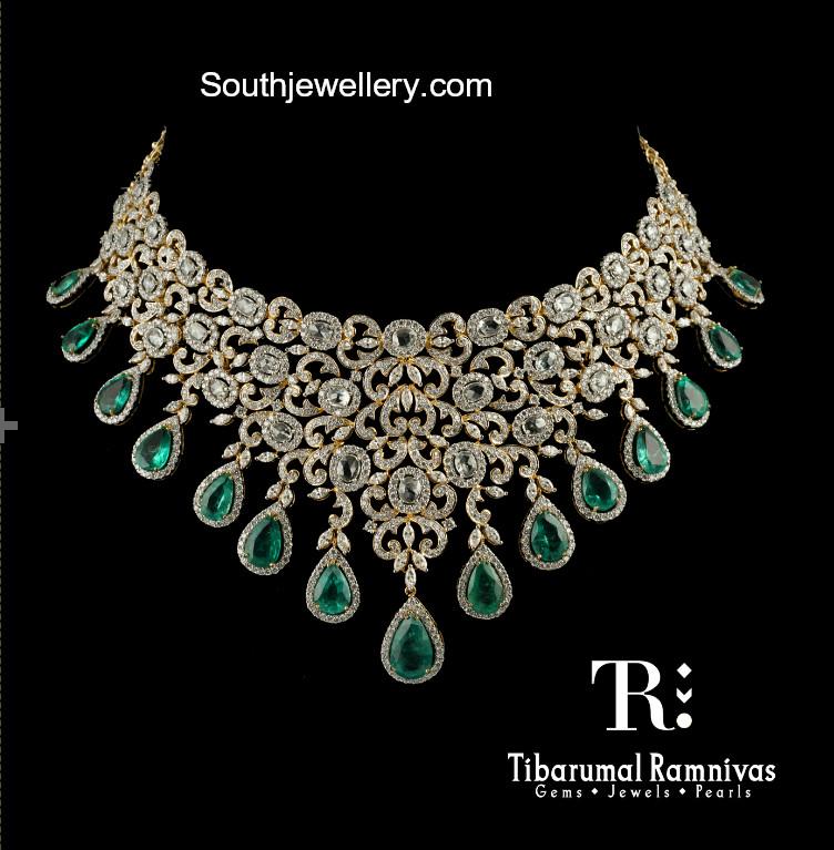 e3973938b2c9a Diamond Emerald Necklace - Jewellery Designs