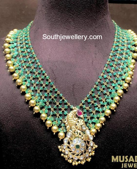 emerald beads mala with peacock pendant