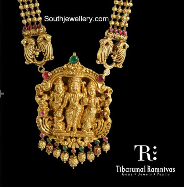 Nakshi Balls Mala With Ram Parivar Pendant Jewellery Designs