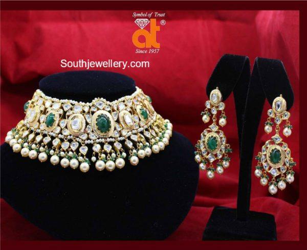 Emerald Polki Diamond Choker set