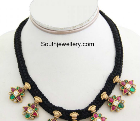 necklace jhumkas with red matching and silk bangles thread set