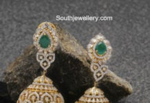 diamond emerald jhumkis