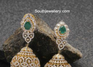 diamond emerald jhumkis