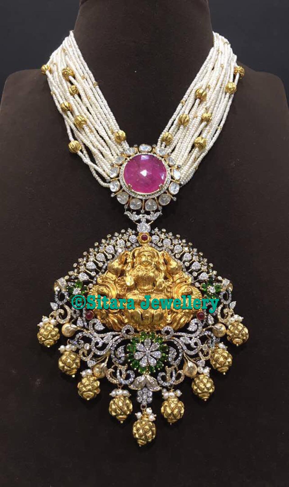 d7320a9239adb Multistrand Pearls Mala With Lakshmi Pendant - Jewellery Designs