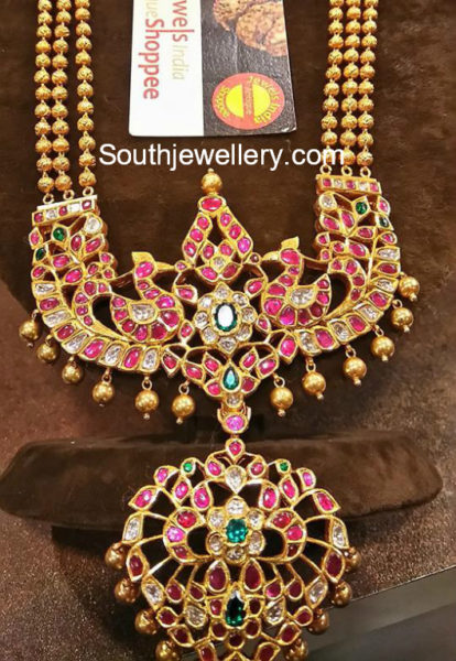 gold balls haram with ruby peacock pendant
