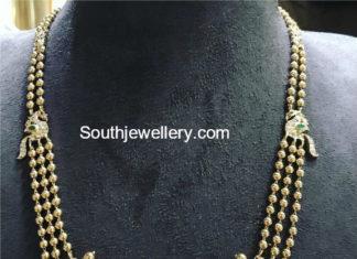 GOLD BALLS MALA WITH DIAMOND PENDANT