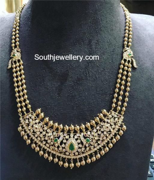 Gold Balls Mala with Peacock Diamond Pendant