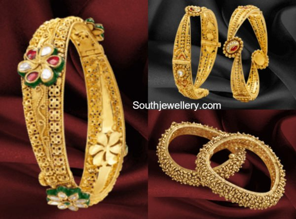 Gold Bangle Designs by Khazana Jewellery