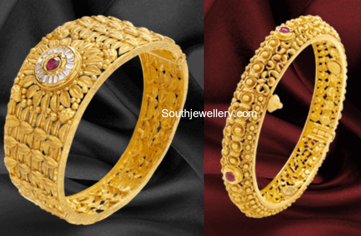 Gold Bangle Designs by Khazana Jewellery Jewellery Designs