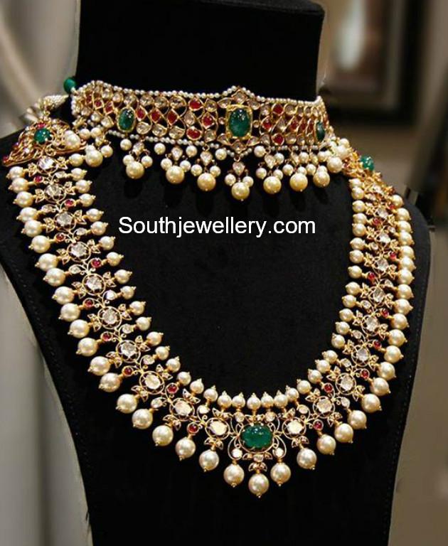 Bridal Diamond Necklace And Haram Set: Kundan Choker And Polki Haram