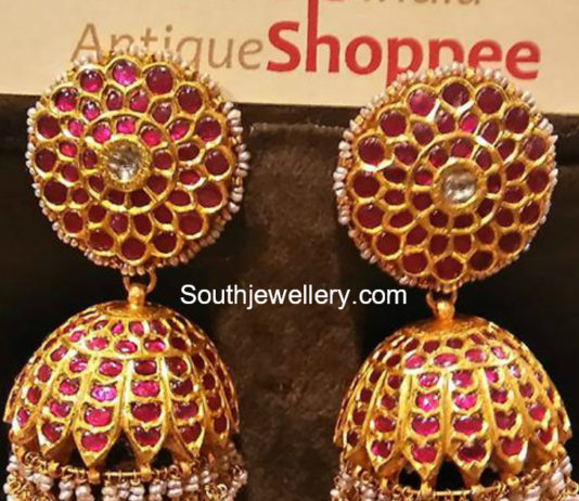 Antique Gold Ruby Jhumkas