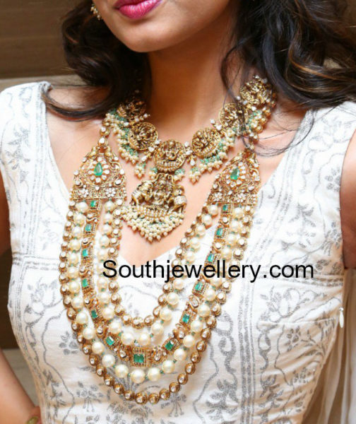 temple design necklace and layered polki haram jewellery