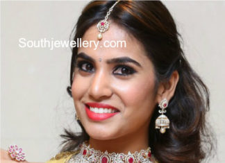 diamond choker and jhumkas