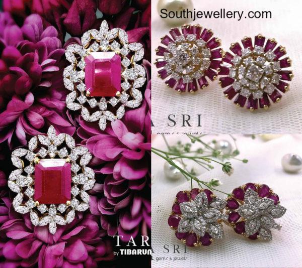 diamond ruby studs designs