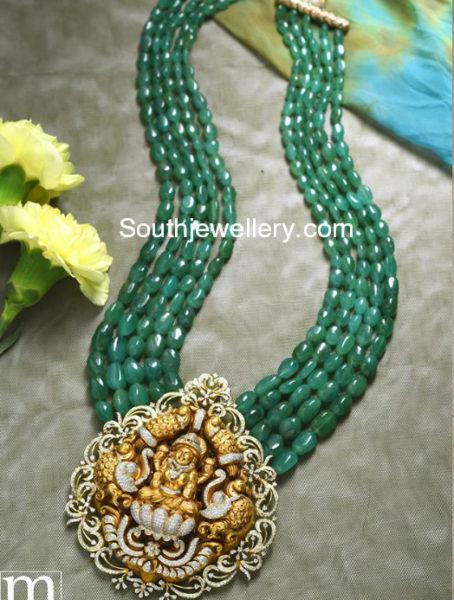 emerald beads mala with temple pendant