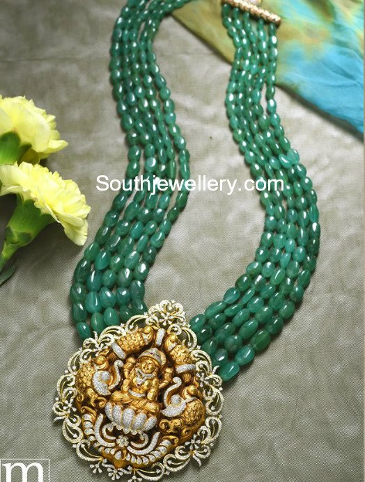 emerald beads mala with temple pendant