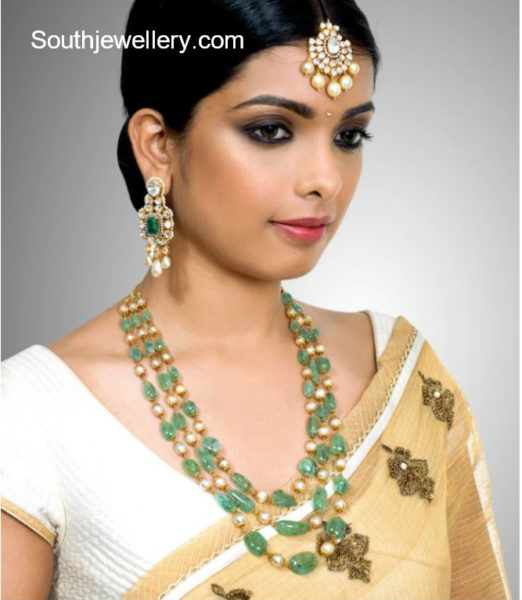 emerald beads and south sea pearls mala