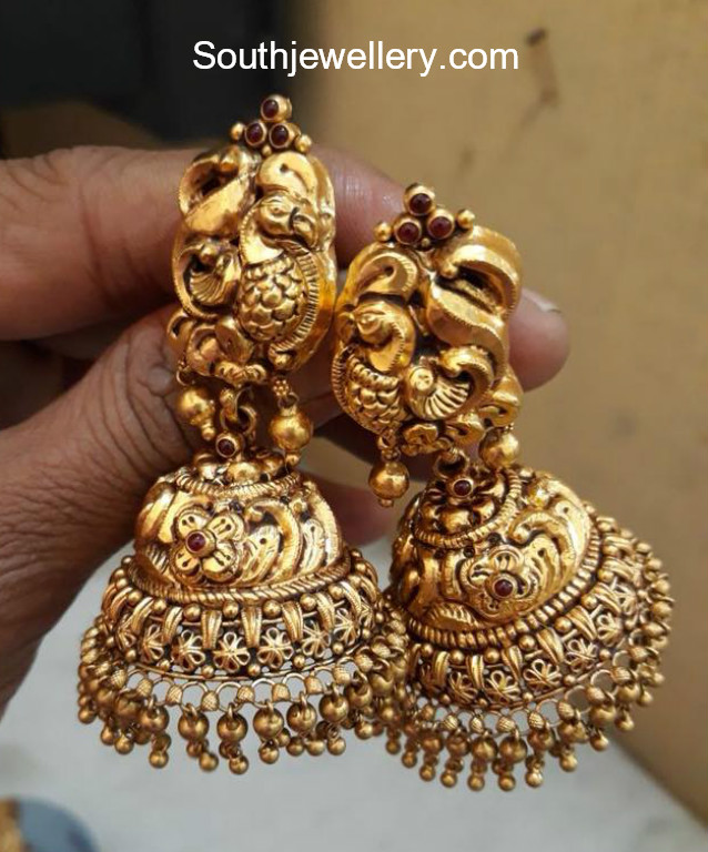 Peacock Gold Jhumkas - Jewellery Designs