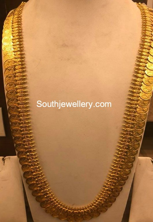 Plain Gold Lakshmi Kasu Haram Jewellery Designs
