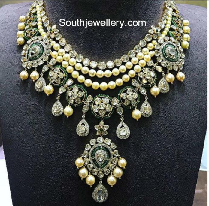 polki diamond layered necklace