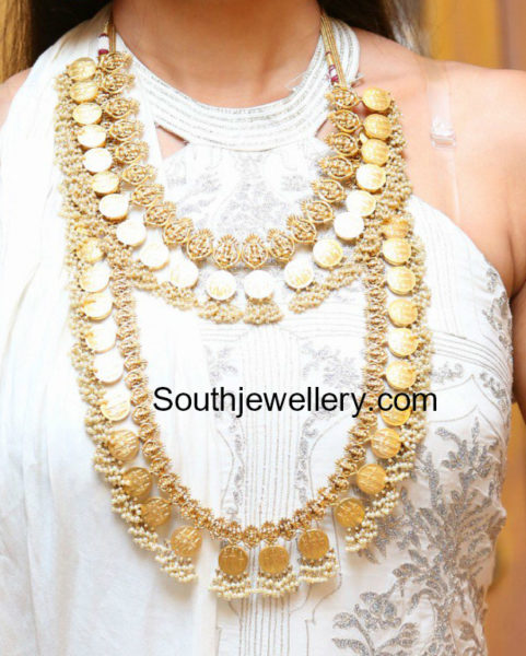 ram parivar kasu necklace and haram set jewellery designs