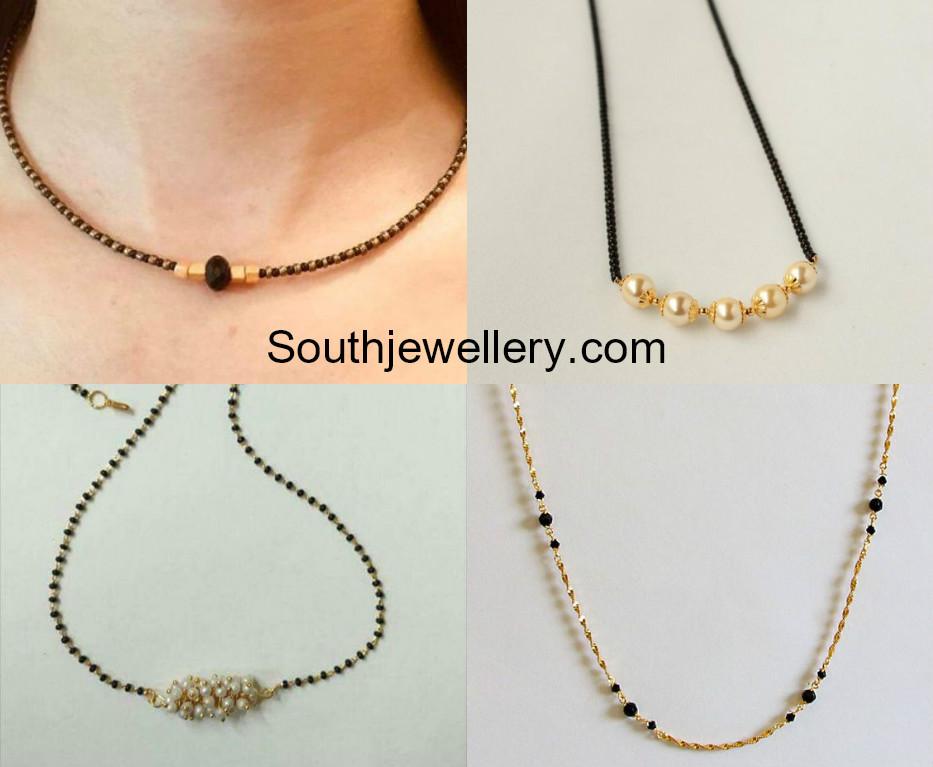 9daa2c1668e12 Light Weight Short Nallapusalu Chain Models - Jewellery Designs