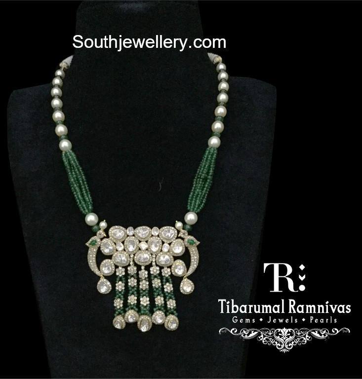 Beads necklace with polki pendant jewellery designs beads necklace polki pendant aloadofball Gallery