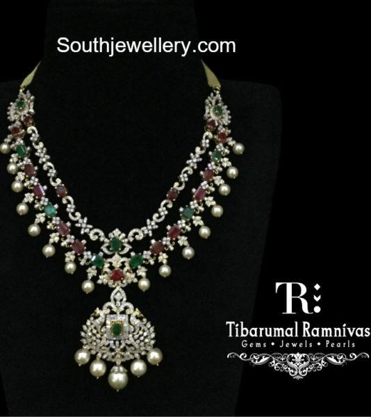 diamond emerald ruby necklace