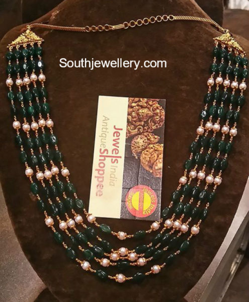 emerald beads and south sea pearls mala
