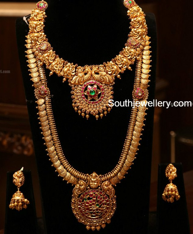 antique gold peacock necklace and kasulaperu haram