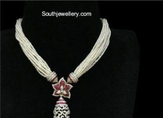 pearl necklace diamond pendant